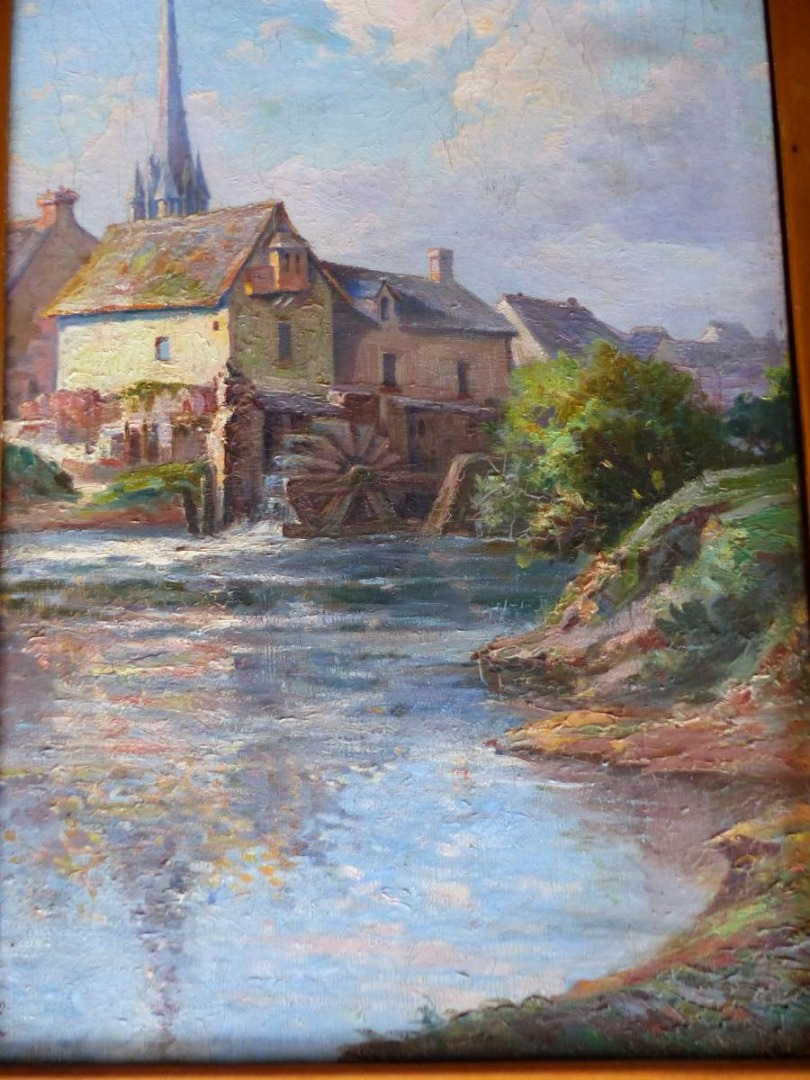 Le Vieux Moulin Table Oil On Canvas Provencal School End XIX Debut XX Eme