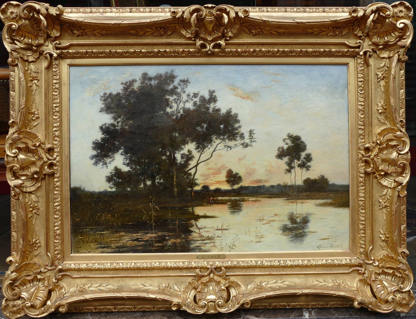 Richet Leon Painting XIX Barbizon School French Landscape 19th Oil On Canvas Signed