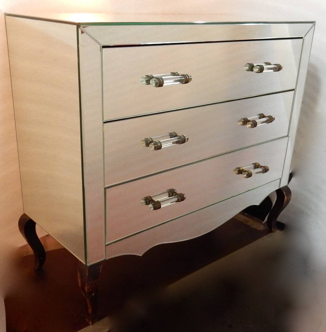 1940/50 'Art Deco Chest of Drawers Mirror 3 Drawers 6 Glass Handles