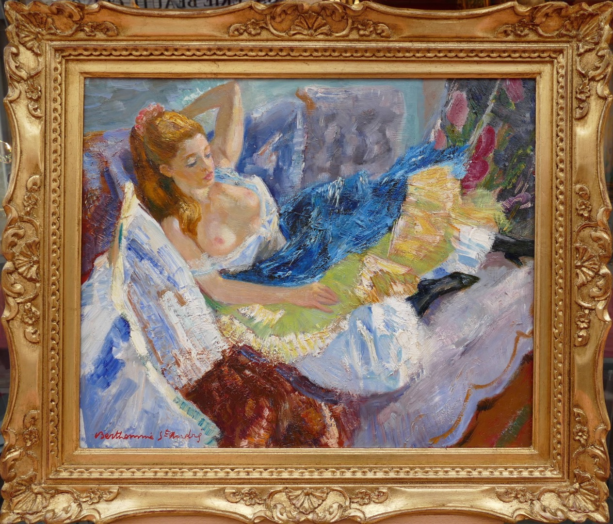 Louis BERTHOMME St ANDRE Young lady resting Oil on canvas signed
