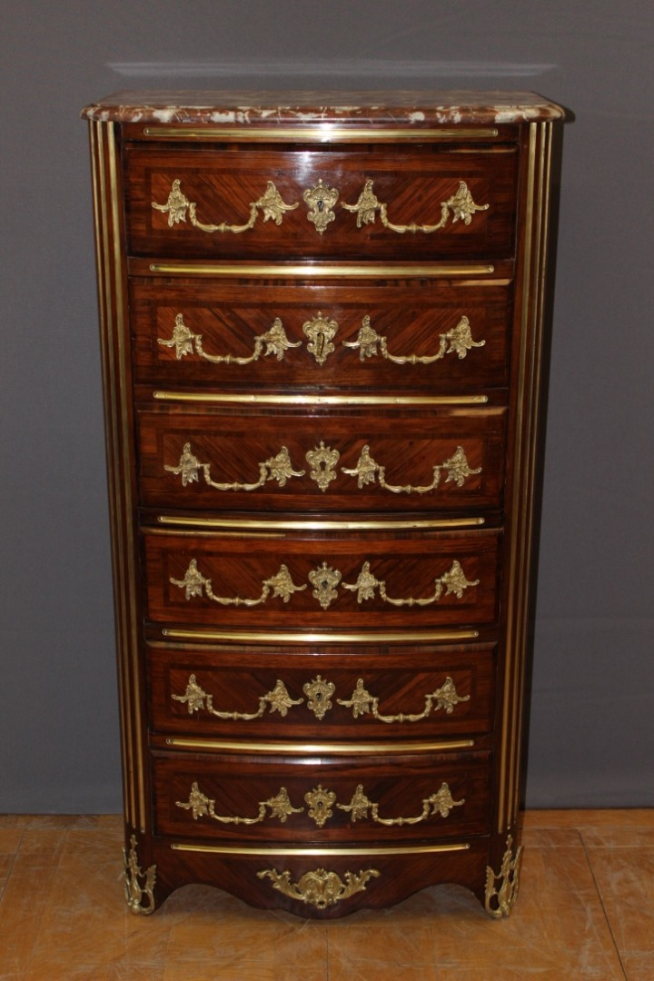 Louis XIV Style Secretary In Rosewood Marquetry Late XIX