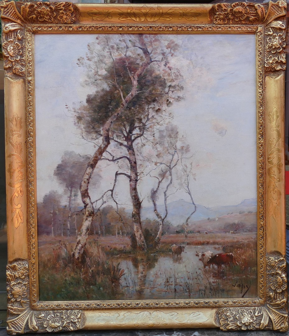 Japy Louis Aime French Painting Landscape XIXth Century Barbizon School Oil On Canvas Signed