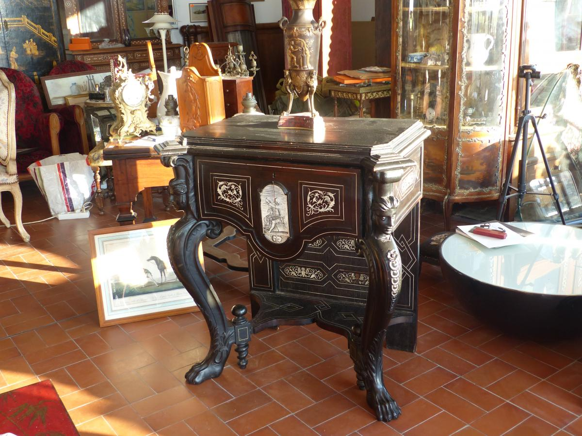 Console Or Cabinet Base Marquete XIX Boulle Base