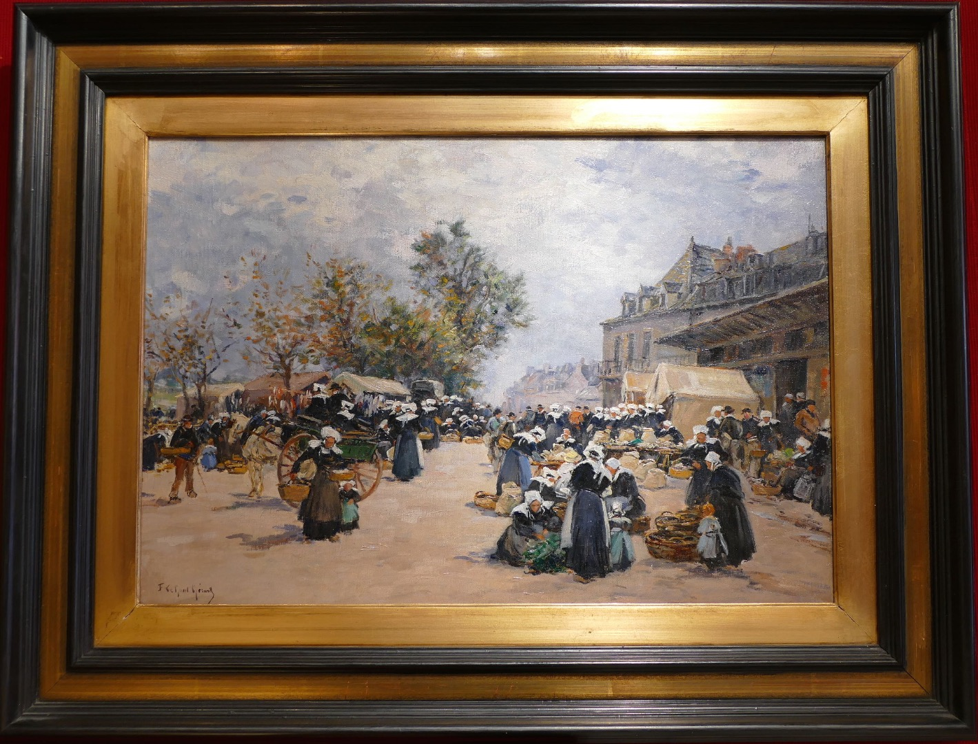 Legout Gerard French School Painting Breton XIXth Market In Concarneau Oil Canvas Signed