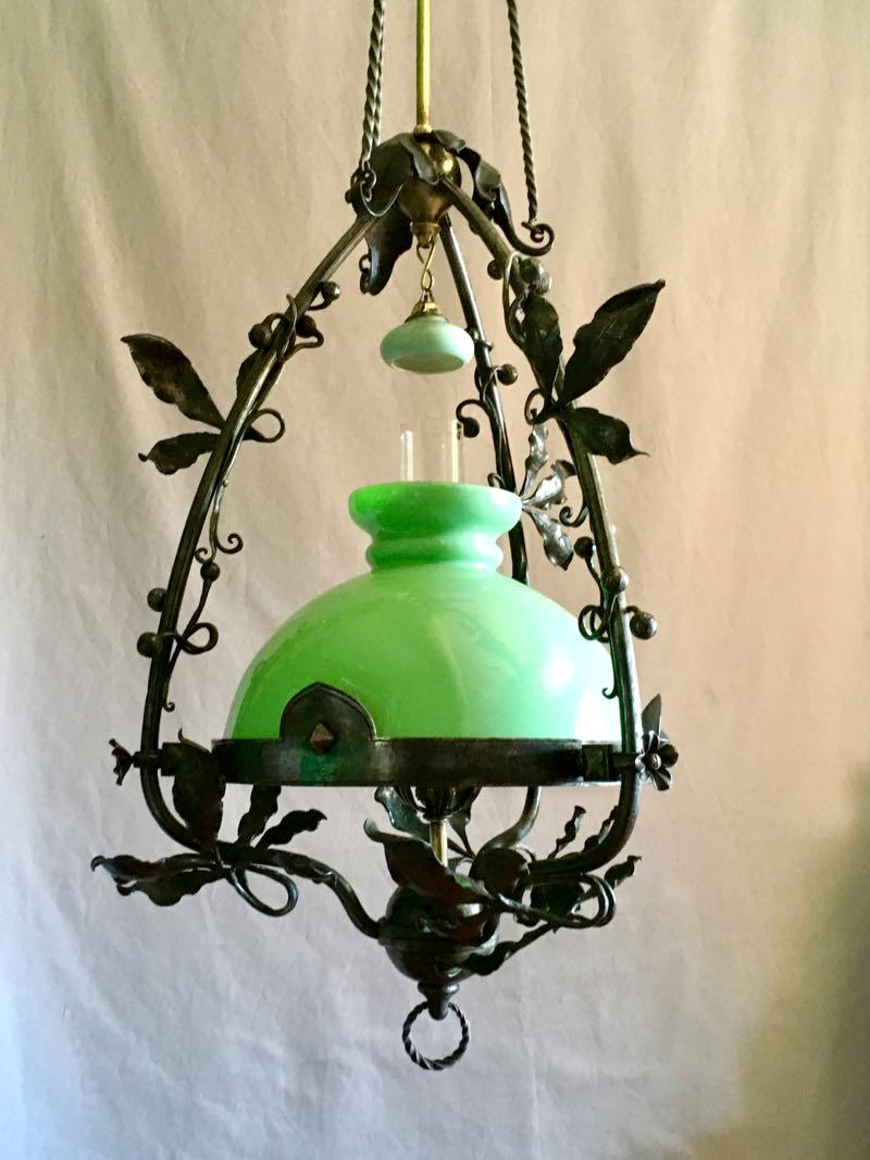 ART NOUVEAU WROUGHT IRON AND BRASS PENDANT LIGHT