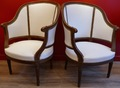 Pair of bergeres style Louis XVI in natural wood 19Th century