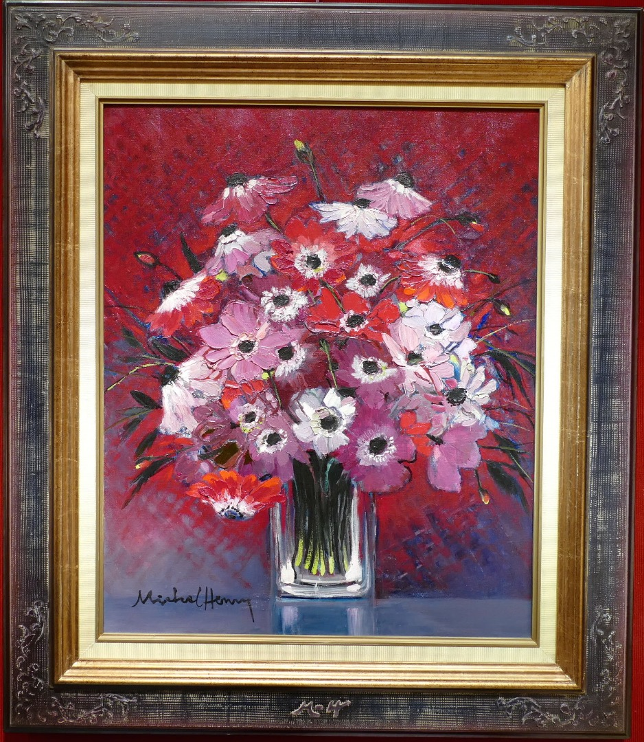 MICHEL HENRY PAINTING 20Th CENTURY ANEMONES OF FRANCE OIL ON CANVAS SIGNED MODERN ART