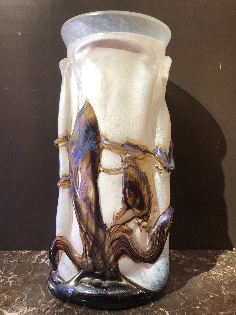 NOVARO Blown glass vase signed and dated 1989