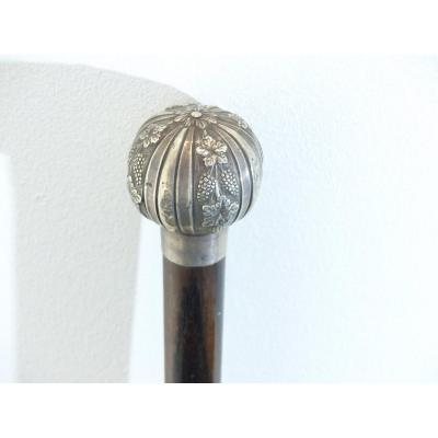 Rare Cane In Rosewood Silver Pommel Decor Vines Pampres And Grapes Period XIX 19 Eme