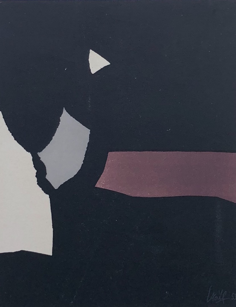 Nicolas De Staël ( d'après ) Composition on a black background, Lithograph from 1958