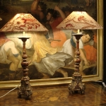 Pair Of 18th Carved Wood Lamps