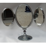 1950' Mirror For Jewerly triptych DLG Jacques Adnet Bronze Nickel-plated