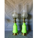 PAIR OF19th CENTURY OPALINE MODERATOR OIL LAMPS